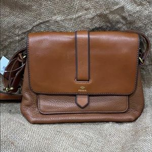 Brand new brown leather Fossil bag